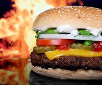 large burger in restaurant